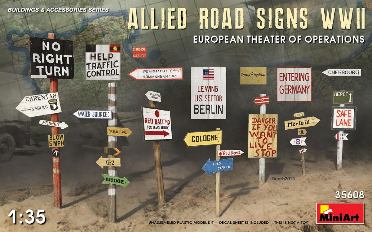 Allied Road Signs WWII. European Theatre of Operations - Image 1